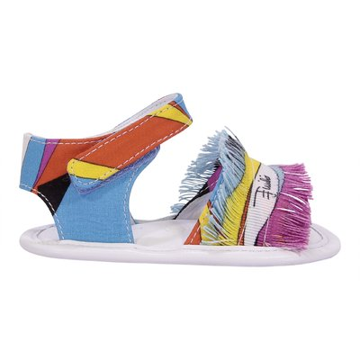 Abstract print cotton canvas prewalker sandals