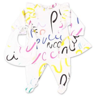 EMILIO PUCCI set da tre pezzi in colore bianco con tutina, bavetta e cappello in jersey di cotone