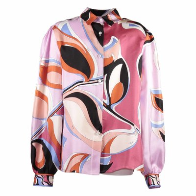 Abstract print silk shirt