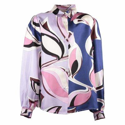 Abstract print silk shirt