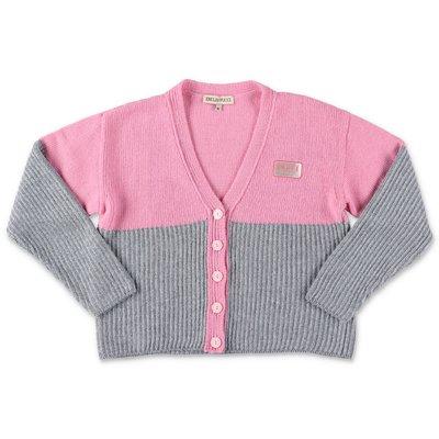 EMILIO PUCCI cardigan rosa e argento in maglia di misto lana vergine