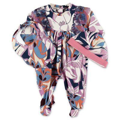 EMILIO PUCCI abstract print romper, bib & hat set