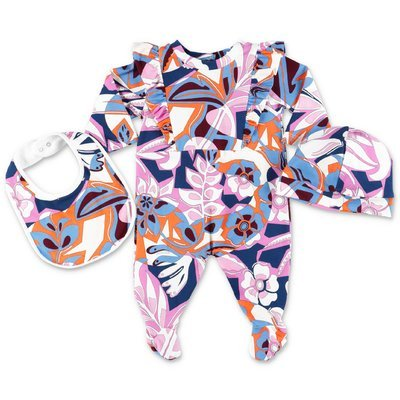 EMILIO PUCCI printed cotton jersey set with romper, hat & bib