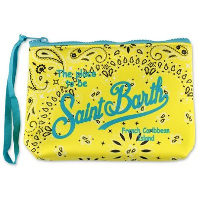 MC2 Saint Barth yellow paisley print scuba fabric purse