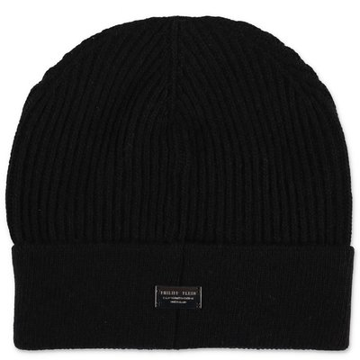 Philipp Plein black wool blend knit hat
