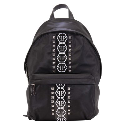 PHILIPP PLEIN black logo detail nylon backpack with studs