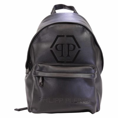 Black logo detail faux leather backpack
