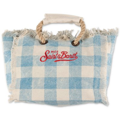 MC2 St Barth light blue cotton canvas bag