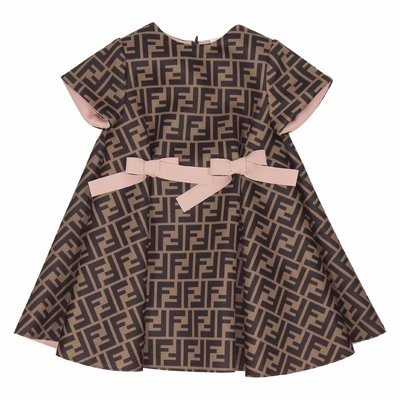 Brown FF logo detail techno fabric dress