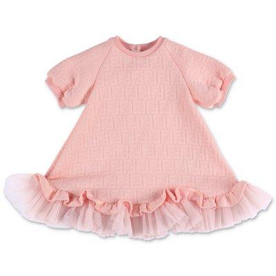 FENDI abito rosa in felpa di misto cotone