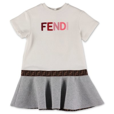 FENDI white cotton sweatshirt dress