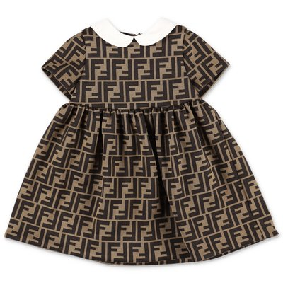 FENDI brown zucca print cotton blend dress