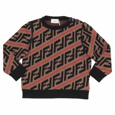 Brown FF logo detail pure wool sweatshirt