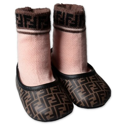 FENDI zucca print calf leather ballerinas with knit sock