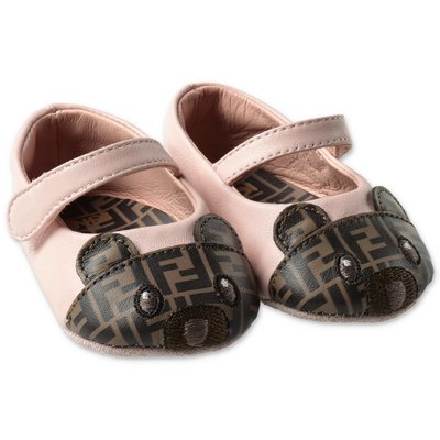 FENDI pink leather prewalker ballerinas with zucca print detail