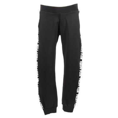 Pantaloni neri in felpa di cotone con banda logo