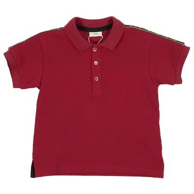 Red logo detail pique cotton baby polo shirt