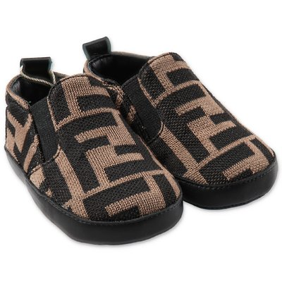 FENDI brown zucca print prewalker shoes