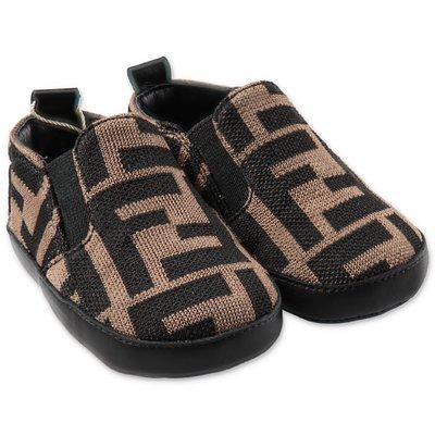 FENDI scarpe prewalker marroni zucca print
