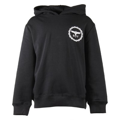 Black logo cotton sweatshirt hoodie