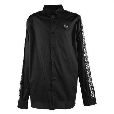 Black cotton poplin shirt