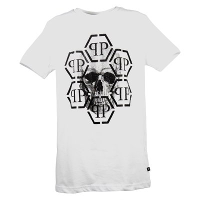 White crystal skull cotton jersey t-shirt