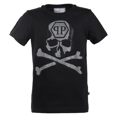 Black crystal skull cotton jersey t-shirt