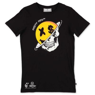PHILIPP PLEIN t-shirt nera in jersey di cotone