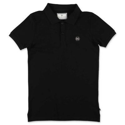 PHILIPP PLEIN black cotton piquet polo shirt