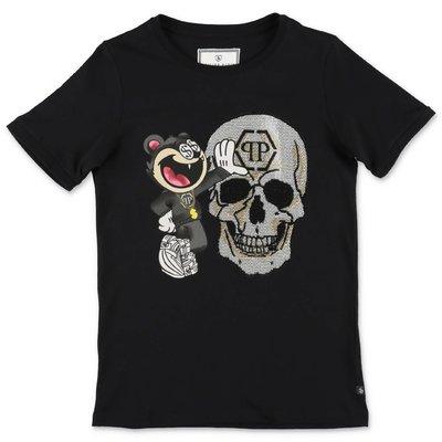 PHILIPP PLEIN t-shirt skull nera in jersey di cotone