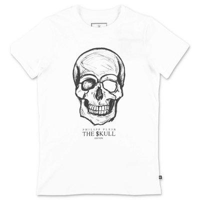 PHILIPP PLEIN t-shirt skull bianca in jersey di cotone