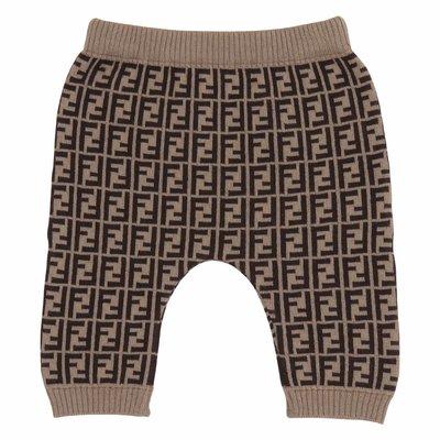 Pantaloni marroni in cashmere e cotone con logo zucca print