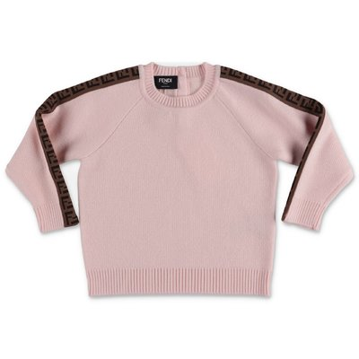 FENDI pink pure virgin wool zucca print detail knit jumper