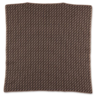 FENDI brown monogram print cotton & cashmere knit blanket