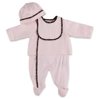FENDI pink cotton jersey three piece effect set with romper, hat & bib