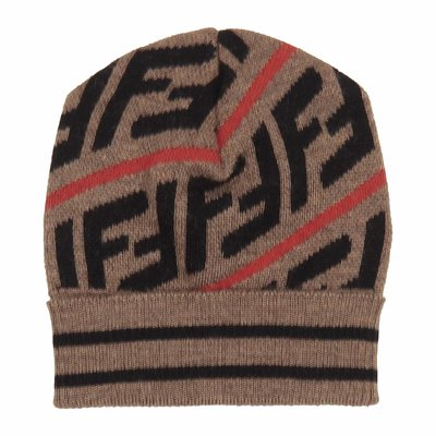 Brown FF logo detail cotton blend beanie