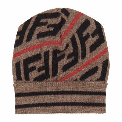 Cappello marrone in misto cotone con monogramma FF