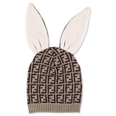 FENDI cappello bunx zucca print in cashmere e cotone