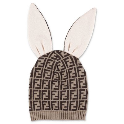 FENDI zucca print cashmere & cotton bunx hat
