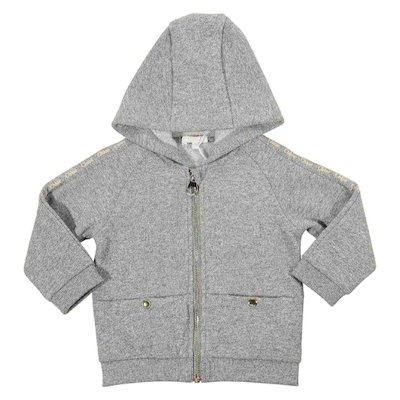 Grey cotton blend zipped sweatshirt hoodie