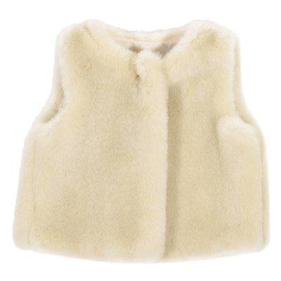 Gilet beige in pelliccia ecologica