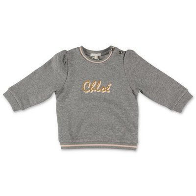 Chloe melange grey logo detail cotton sweatshirt