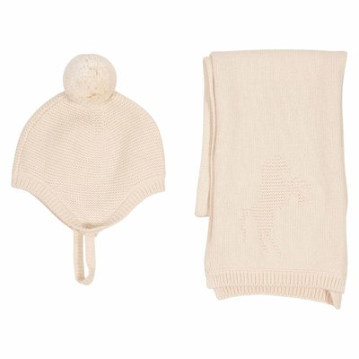 Pale pink wool knitted hat and scarf set