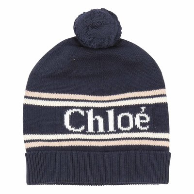 Blue logo detail mixed cotton wool knit hat