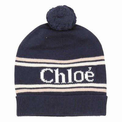 Cappello blu in maglia di cotone misto lana con logo