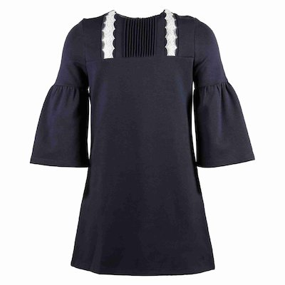 blue scallop-trimmed dress<br> round neck