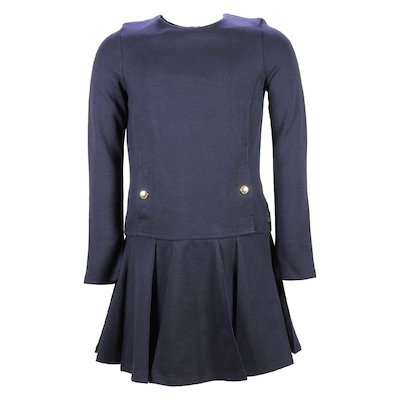 Navy blue cotton skater dress