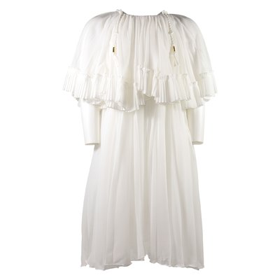 White pleated crépe dress with ruffles