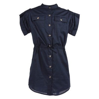 Navy blue cotton shirt dress