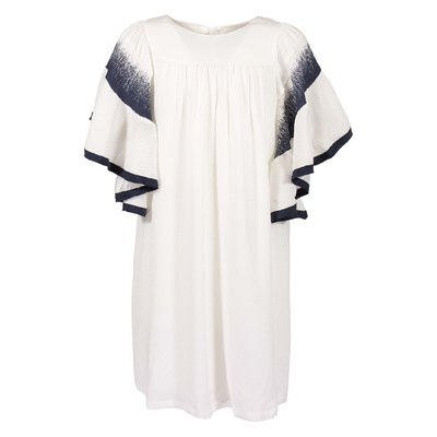 White contrasting color details silk dress
